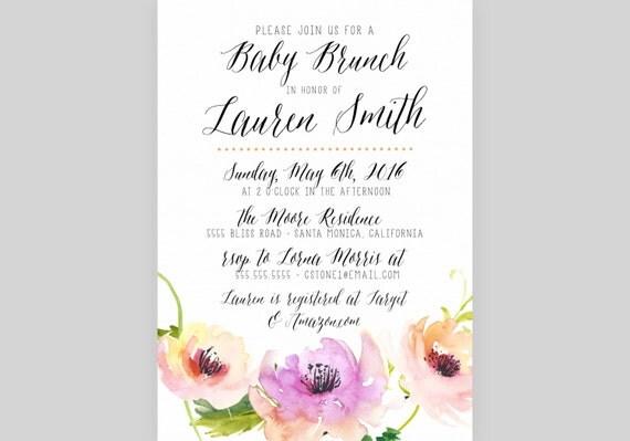 baby shower brunch invitation little babe modern orange purple