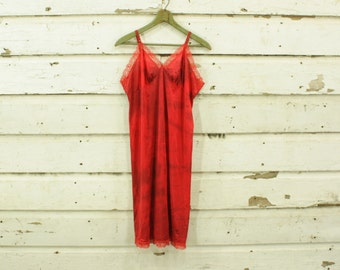 vintage 1960s bright red hand dyed slip dress gown lace details M