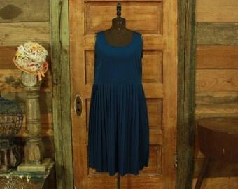 vintage 1970s simple navy blue pleated skirt dress M L 12 Petite