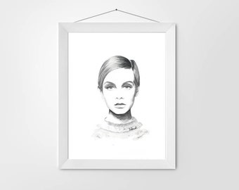 60'S Iconic Twiggy Watercolour Fashion Decor Print