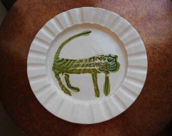 Bennington Potters Wall Plate. Bennington Pottery.  Mid Century.  David Gil. Cat. Lion. Feline.