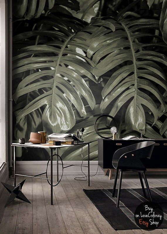 monstera leaf wall mural tropical decor wall art industrial. Black Bedroom Furniture Sets. Home Design Ideas