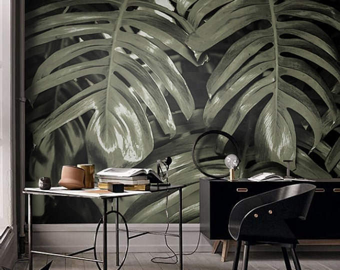 Monstera leaf wall mural, Tropical decor wall art, Industrial decor, Banana removable wallpaper, Peel and stick mural, Temporary  #4