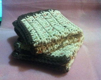 2   100% Cotton Wash Cloths. Hand Made and Ready to ship !
