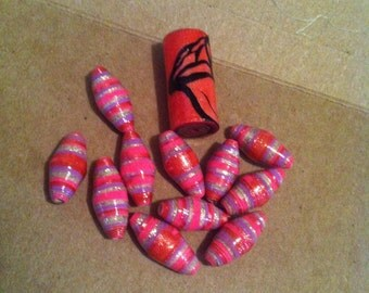 Paper Bead in Pinks With ACCENT BEAD ! Rose
