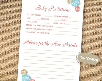 Baby Shower Game - Predictions of the Baby & Advice for the New Parents { Coral and Blue } { Color Customization }