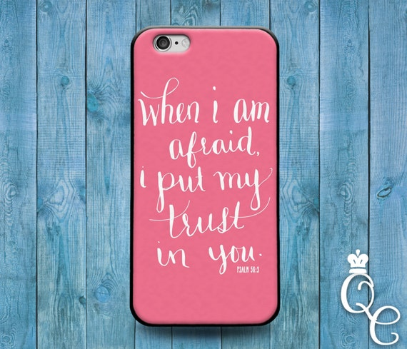 iPhone 4 4s 5 5s 5c SE 6 6s 7 plus iPod Touch 4th 5th 6th Generation Cool Pink Bible Psalm Verse Quote Cover Custom Trust Word of God Case