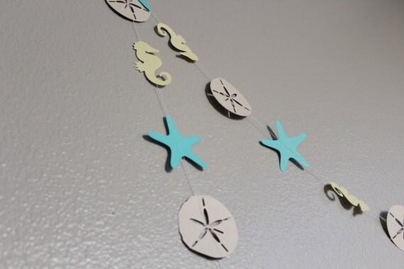 Beach Garland paper garland star fish sand dollar sea horse birthday banner baby shower wedding
