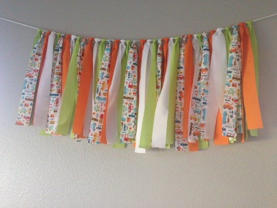 cars trucks auto fabric banner bunting birthday backdrop baby shower cake smash garland photo prop READY TO SHIP 3 feet x 18 inches