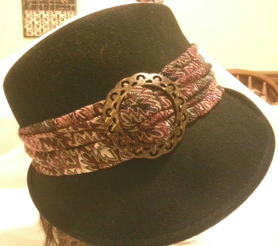 Vintage Fedora Scala hat. Handcrafted since 1921. Wool. Ladies Black Vintage designer dress hat with Scarf and  Buckle by Scala. Church Hat.