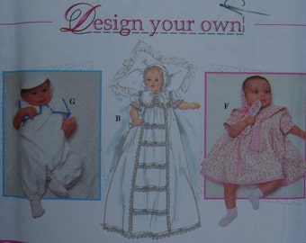 Christening Dress & Outfit with Bonnet Simplicity 7024 Sewing Pattern Size Newborn to 18 Months FF VTG 1996