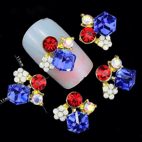Red White Blue 3D Nail Art Charms with CZ Stones