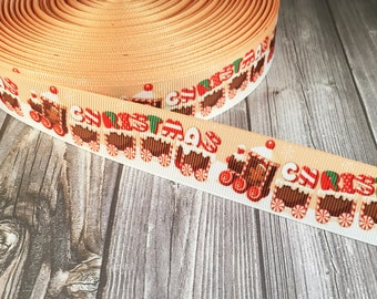 Christmas train - Christmas ribbon - Gingerbread ribbon - Candy cane ribbon - DIY Christmas bow - DIY Christmas craft - Craft supplies