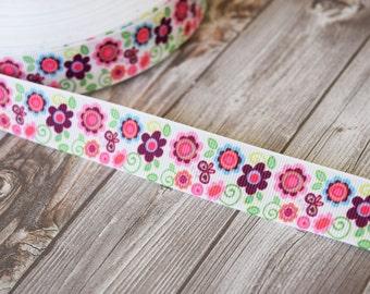 """Flowers and butterflies - Vintage inspired - DIY hairbows - Pink purple -  7/8"""" grosgrain ribbon - 3 or 5 yards"""