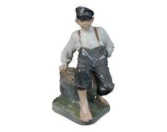 Large Royal Copenhagen Shepherd Boy on Rock 1659 Figurine Sgnd Christian Thomsen