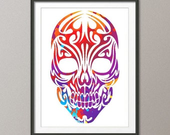 Skull ,Archival Art Print, Skull Watercolor ,Silhouette Painting ,Print ,Wall Decor ,Home or Office