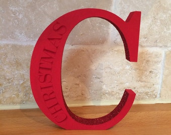 "Red glittered Christmas letter ""C"" wooden decoration"