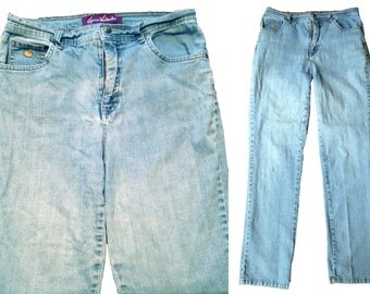 High Waist Jeans Gloria Vanderbilt vintage 80s eighties nineties 90s grunge hippie punk boho women blue jeans boyfriend jean