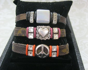Peace Sign Bracelet! Louis Vuitton Upcycled Bracelets- Made from Auth LV Bag. A portion of all proceeds goes to animal rescue.