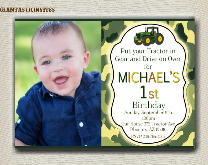 Tractor Birthday Invitation, first birthday party, farm birthday, john deere inspired party printable, Tractor, Deer, Outdoor Birthday, DIY