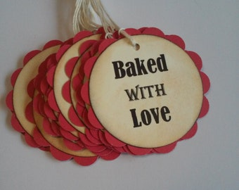 Baked With Love Tags, Baking Tags, Baked goods tags, Set of 12