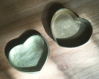 Vintage Heart Shaped Box // Gold & Brass