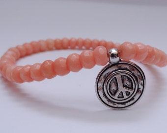 Pink Bracelet, Peace Sign Bracelet - FREE SHIPPING