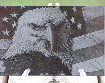 Laser Engraved Granite Tile - American Flag with Eagle - Engraved Gift