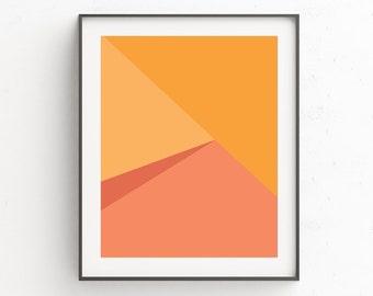 Geometric Print, Instant Download Printable Art, Geometric Wall Art, Scandinavian Print, Orange Print, Geometric Art, Modern Art