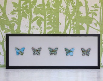 Personalised Butterfly Map Picture | Framed Map Five Butterfly Design. Any Location. Custom Map Art. Personalised Map. Box Frame.
