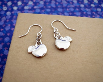 Apple Earring Dangles on Hypoallergenic Surgical Steel, Silver Plated, or Sterling Silver Ear Wires - Double-Sided - Great Teacher Gift!