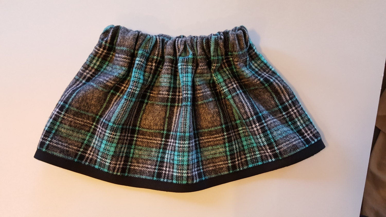 blue plaid flannel gathered skirt baby skirt by
