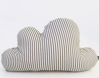 Stripes Cloud Pillow, Cloud Cushion, Decorative Cloud Pillow, Nursery Decor, Baby Pillow, Room Decor, Grey And White  Stripes Pillow