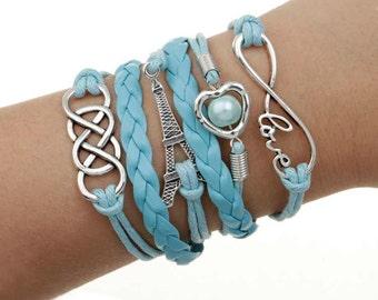 Eiffel Tower Bracelet (baby blue)