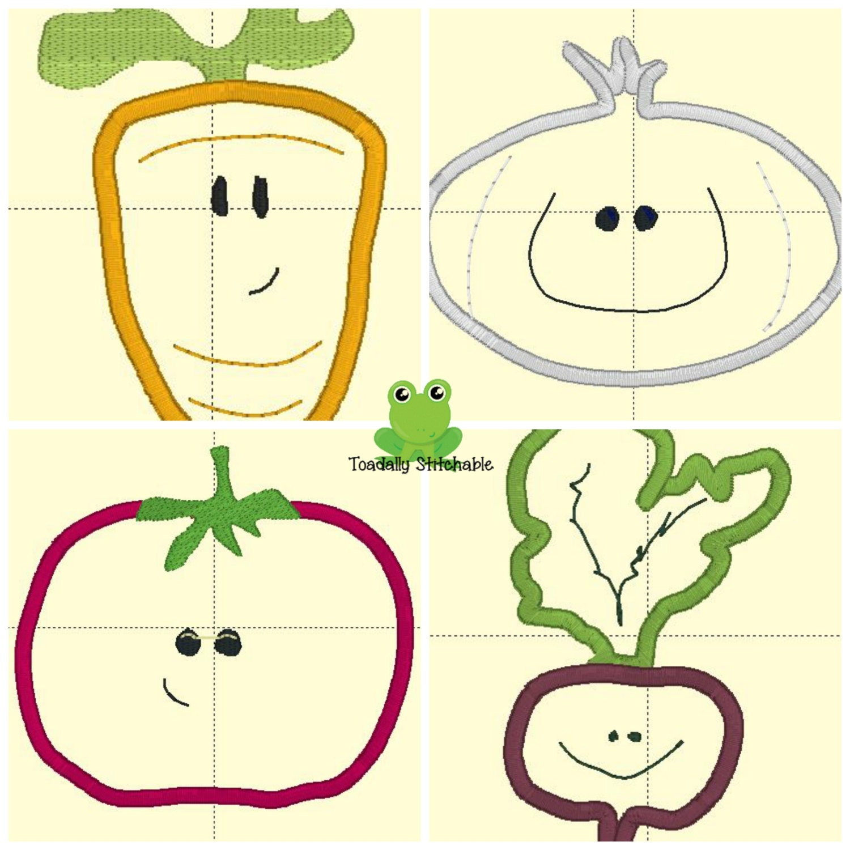 Vegetable garden embroidery design set applique vegetables for Garden embroidery designs