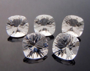 Natural White Crystal Quartz - 10mm Concave Cut Cushion Calibrated Size Top Quality - White Quartz - Loose Gemstone