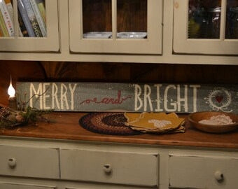 Merry & Bright Hand Painted Sign