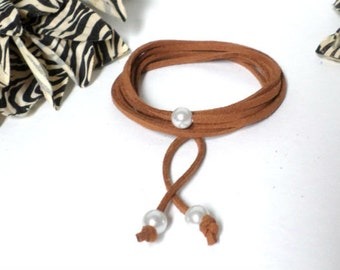 Long Pearl Leather LARIAT - Brown Suede Leather w/ 3 Freshwater Pearl Multi Wrap Boho Choker / Lariat / Wrap Bracelet / Anklet - Chic, gift