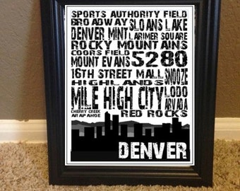 Denver CO Colorado skyline mountain landmark print, INSTANT DOWNLOAD - wall art modern urban mountains, 8x10, black and white, free shipping