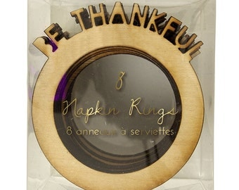 Be Thankful Napkin Rings, Set of 8