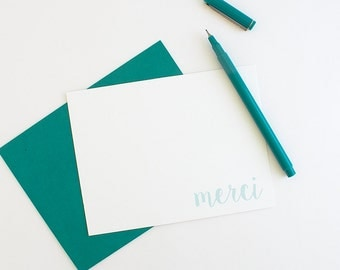 Thank You Notes // Thank You Card Set // Merci Card // French Stationery // Calligraphy Stationery // Custom Stationery // Custom Note Cards