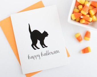 Halloween Greeting Card - Set of 10 // Black Cat Greeting Card // Halloween Cat Greeting Card // Blank Happy Halloween Greeting Card