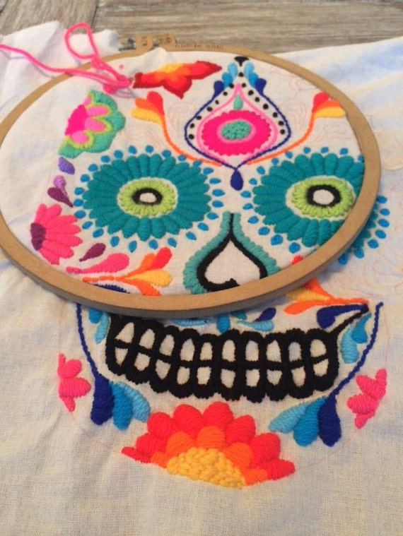Diy embroidery mexican skull kit from ticay on etsy studio