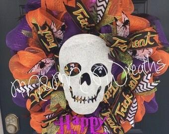 Glitter Skull Halloween Wreath!