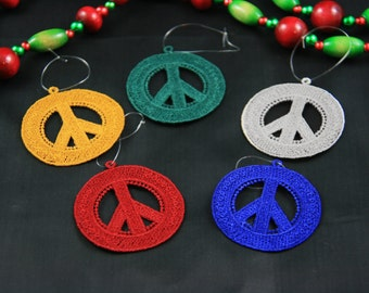 "Peace Sign Ornaments, Set of 5 - 2"" Peace Signs, Peace Symbol Ornament Set,"