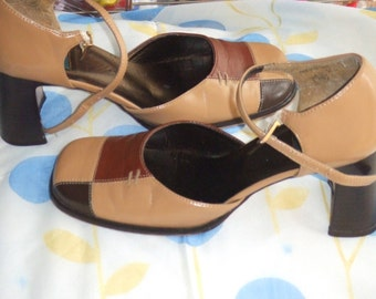 Vintage Transit Shoes. Chunky Heel. Size 38. Leather in Tan and Browns. Used and Loved.