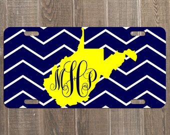 West Virginia License Plate WV Mountaineers Car Tag Custom WVU Car Plate - Football WVU Plate for vehicle Personalized Customized Gift