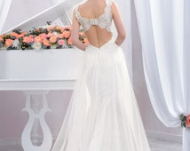 Exclusive long wedding dress, Backless Lace Wedding dress fitted style