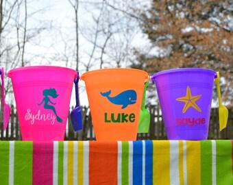 Personalized sand bucket, sand pail, beach bucket, kids gift, beach party favor, girls sand pail, boys sand pail