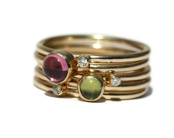 Handmade Gemstone and Diamond Solid Gold Stacking Rings